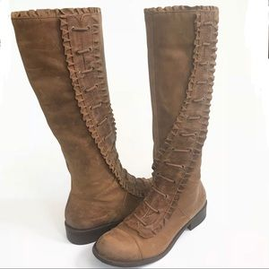Anthropologie miss Albright leather ruffle boots